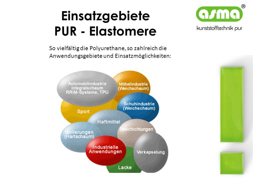 Einsatzgebiete PUR - Elastomere So vielfältig die Polyurethane, so zahlreich die Anwendungsgebiete und Einsatzmöglichkeiten: