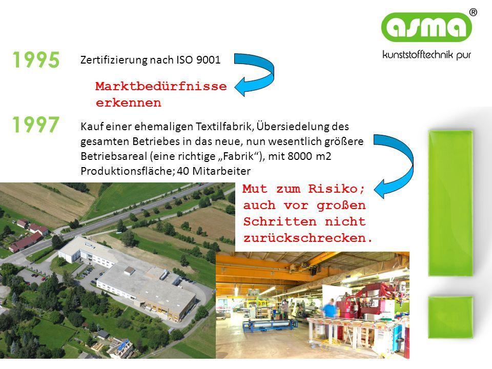 Zertifizierung nach ISO 9001 1995 1997 Kauf einer ehemaligen Textilfabrik, Übersiedelung des gesamten Betriebes in das neue, nun wesentlich größere Be