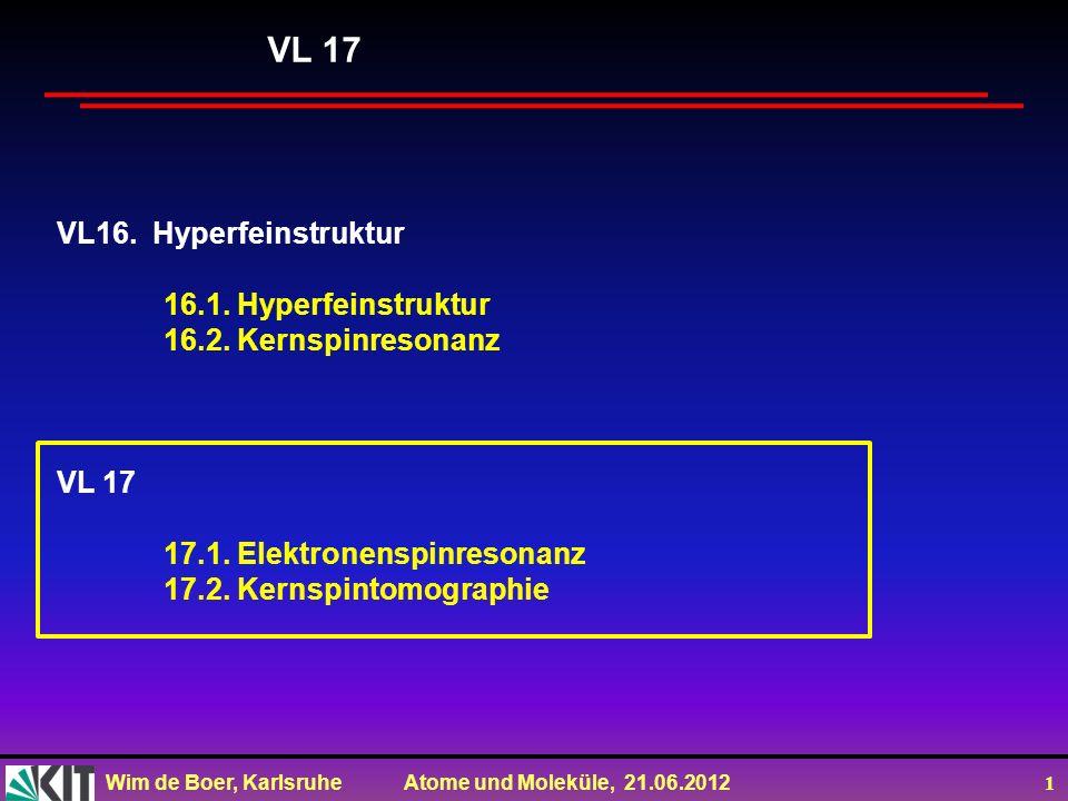 Wim de Boer, Karlsruhe Atome und Moleküle, 21.06.2012 2 Magnetische Resonanz