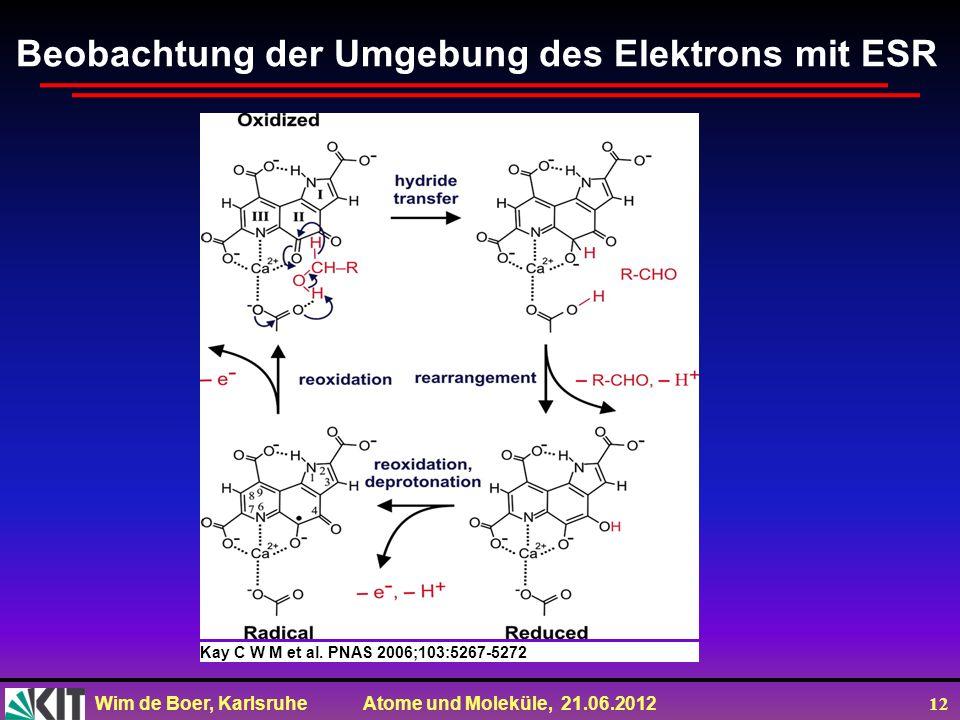 Wim de Boer, Karlsruhe Atome und Moleküle, 21.06.2012 12 Kay C W M et al. PNAS 2006;103:5267-5272 ©2006 by National Academy of Sciences Beobachtung de
