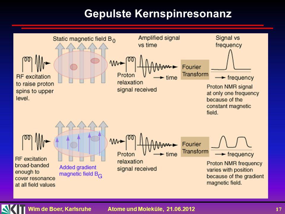 Wim de Boer, Karlsruhe Atome und Moleküle, 21.06.2012 17 Gepulste Kernspinresonanz