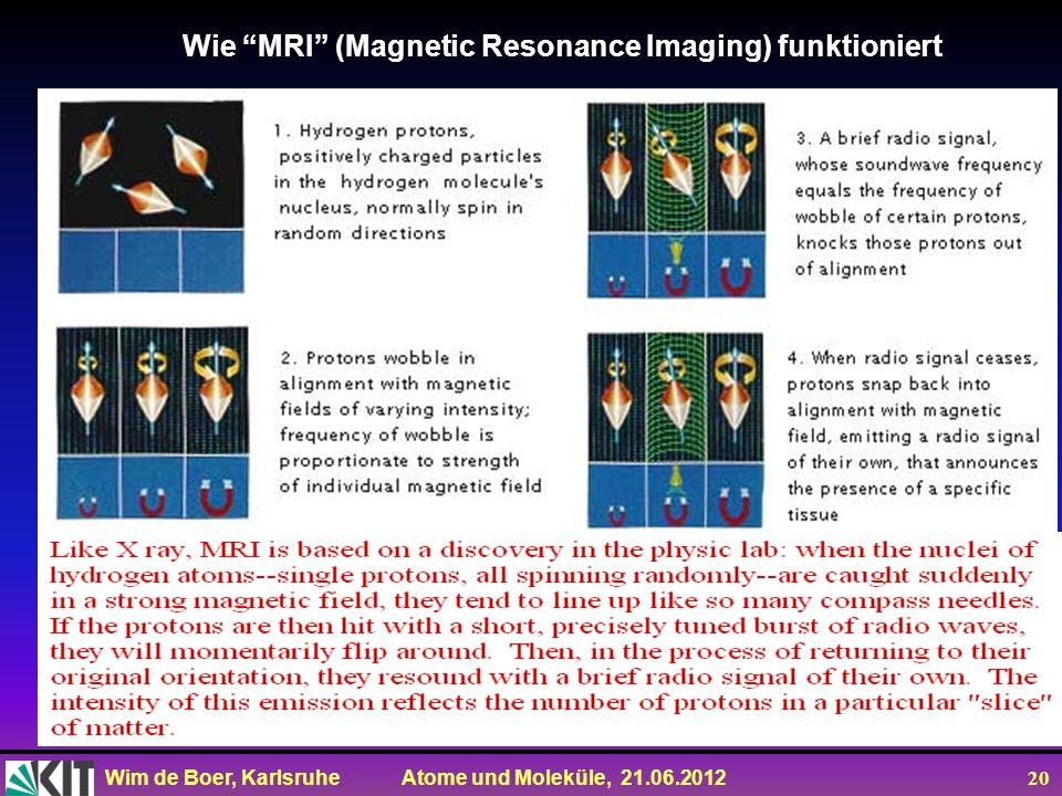 Wim de Boer, Karlsruhe Atome und Moleküle, 21.06.2012 20 Wie MRI (Magnetic Resonance Imaging) funktioniert