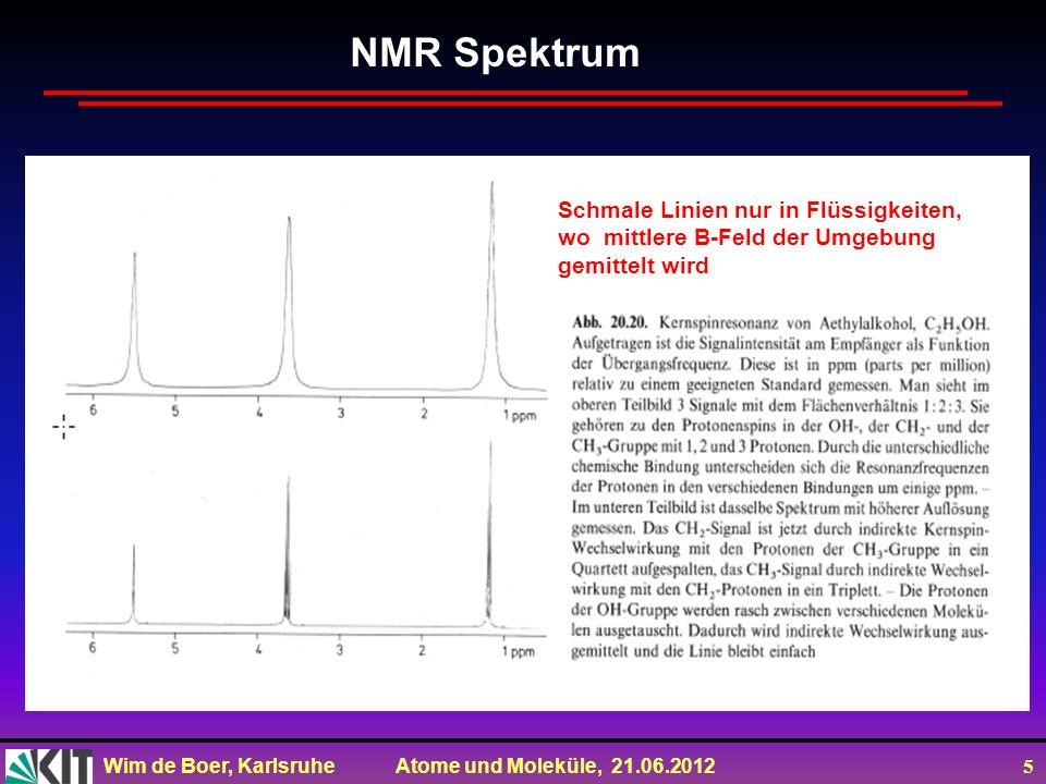 Wim de Boer, Karlsruhe Atome und Moleküle, 21.06.2012 5 NMR Spektrum Schmale Linien nur in Flüssigkeiten, wo mittlere B-Feld der Umgebung gemittelt wi