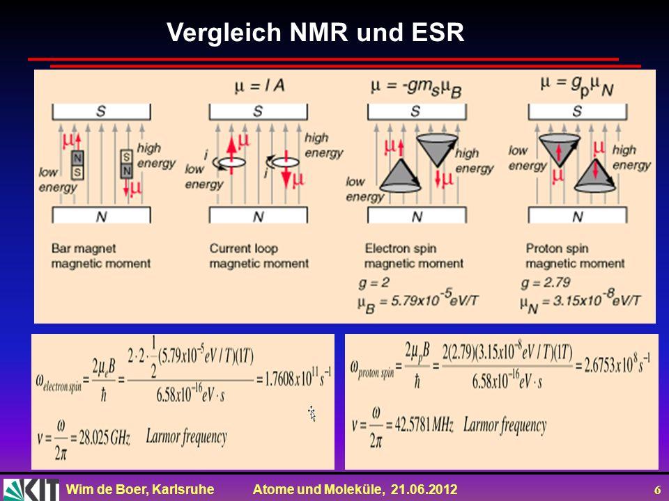 Wim de Boer, Karlsruhe Atome und Moleküle, 21.06.2012 6 Vergleich NMR und ESR
