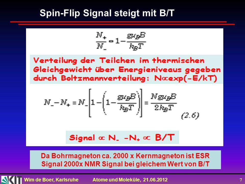 Wim de Boer, Karlsruhe Atome und Moleküle, 21.06.2012 7 Spin-Flip Signal steigt mit B/T Da Bohrmagneton ca. 2000 x Kernmagneton ist ESR Signal 2000x N