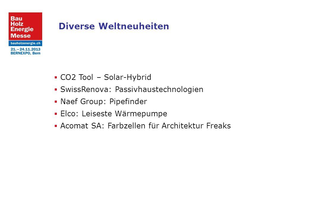 Diverse Weltneuheiten CO2 Tool – Solar-Hybrid SwissRenova: Passivhaustechnologien Naef Group: Pipefinder Elco: Leiseste Wärmepumpe Acomat SA: Farbzellen für Architektur Freaks