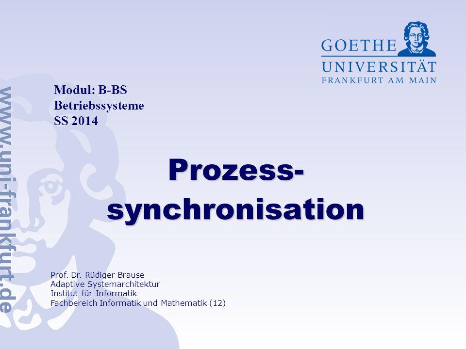Folie 41 Verklemmungen Erkennen und beseitigen Anzeichen: viele Prozesse warten, aber CPU ist idle Prozesse müssen zu lange warten Betriebsmittelgraph (resource allocation graph) P 1 P 3 B 3 B 1 B 2 P 4 P 5 P 2 B 4 Verklemmungsbedingungen erfüllt bei Zyklen im Graphen (C) Goethe-Universität, Frankfurt R.Brause - Betriebssysteme: ProzeßSynchronisation