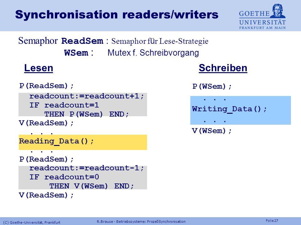 Folie 26 readers/writers - Problem Aufgabe Aufgabe: Koordination Lesen-Schreiben von Dateien Erstes readers/writers-Problem (Vorrang f ü r Leser) Ein