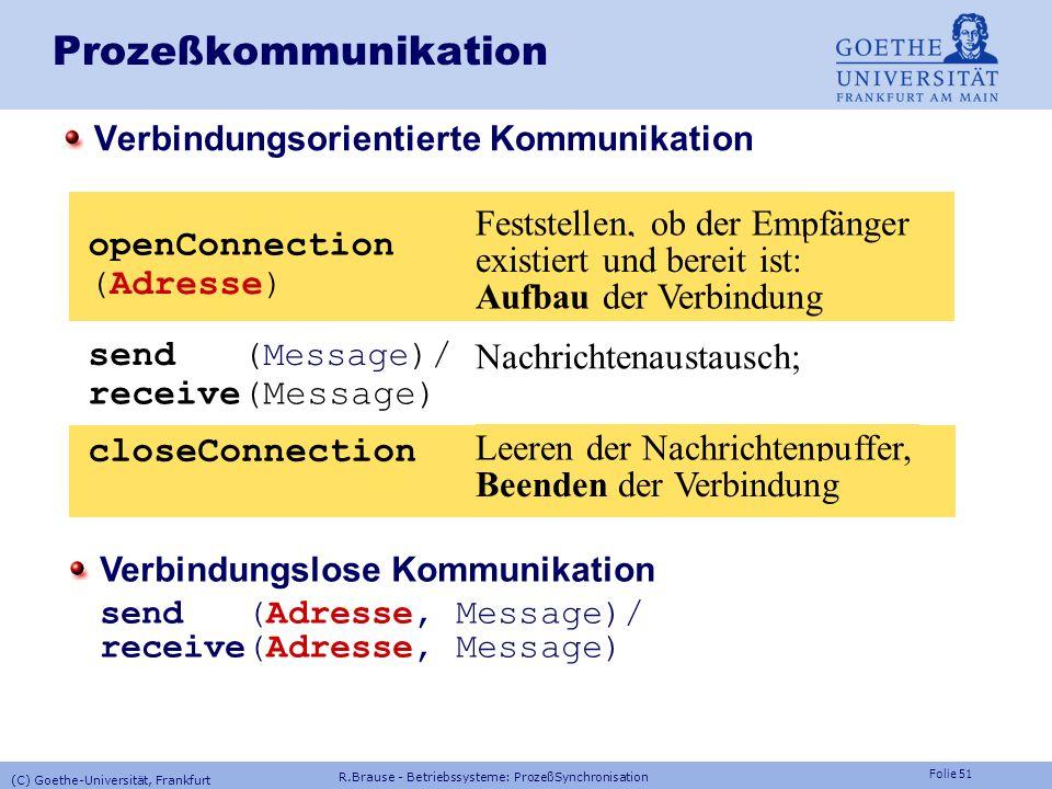Folie 50 Prozeßkommunikation: Adressierung Eindeutige Adressierung: Qualifizierter ID mit IP Adresse = Prozeß-ID.RechnerName.Firma.Land z.B. 5024.hera