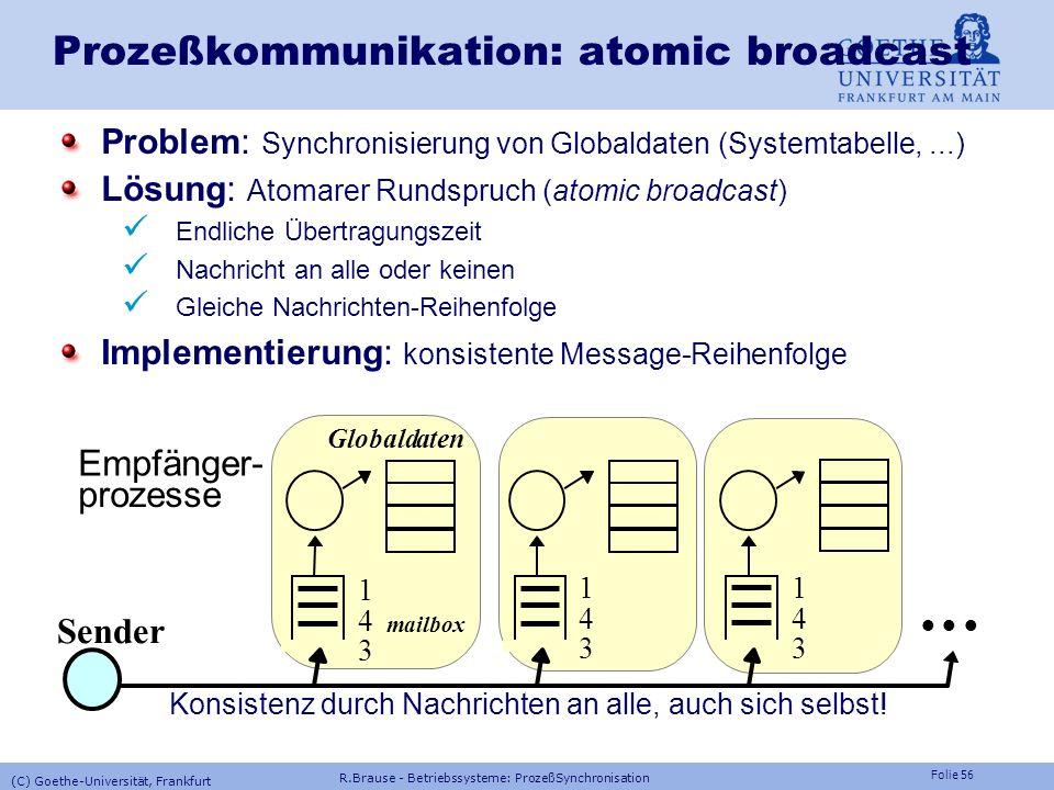 Folie 55 Prozeßkommunikation: Signale Implementierung von Semaphoroperationen mit Signalen TYPE Semaphor = RECORD besetzt : BOOLEAN; frei : SIGNAL; EN