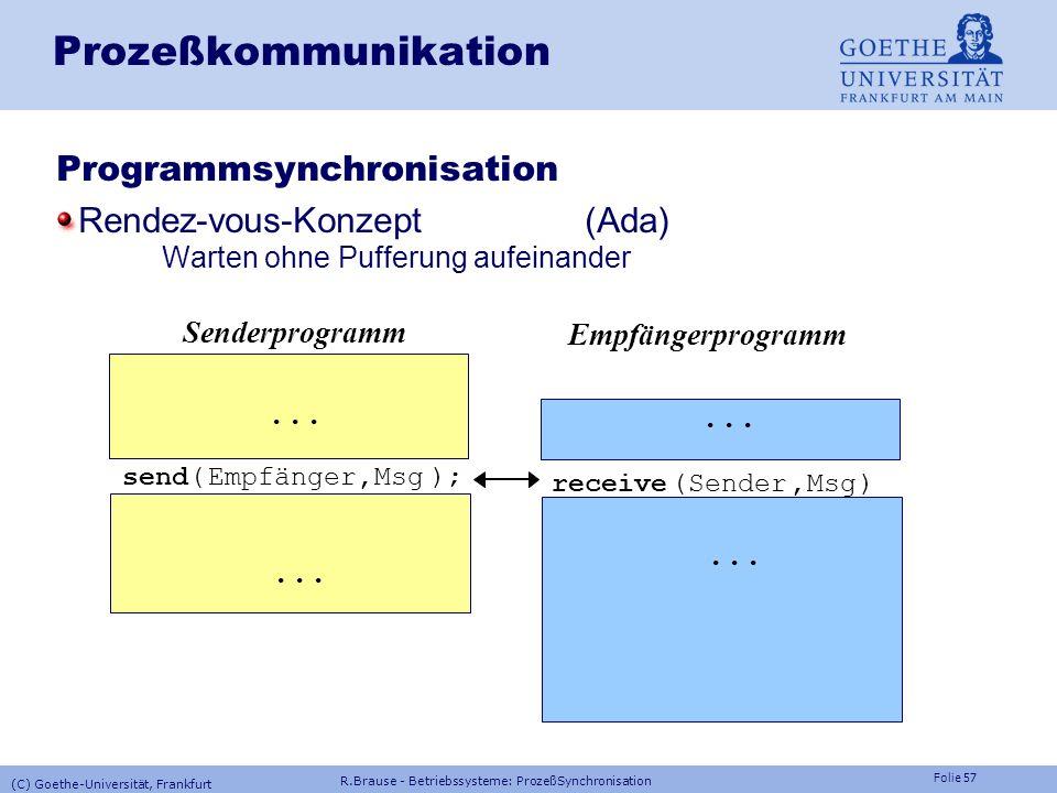 Folie 56 Prozeßkommunikation: atomic broadcast Problem: Synchronisierung von Globaldaten (Systemtabelle,...) Lösung: Atomarer Rundspruch (atomic broad