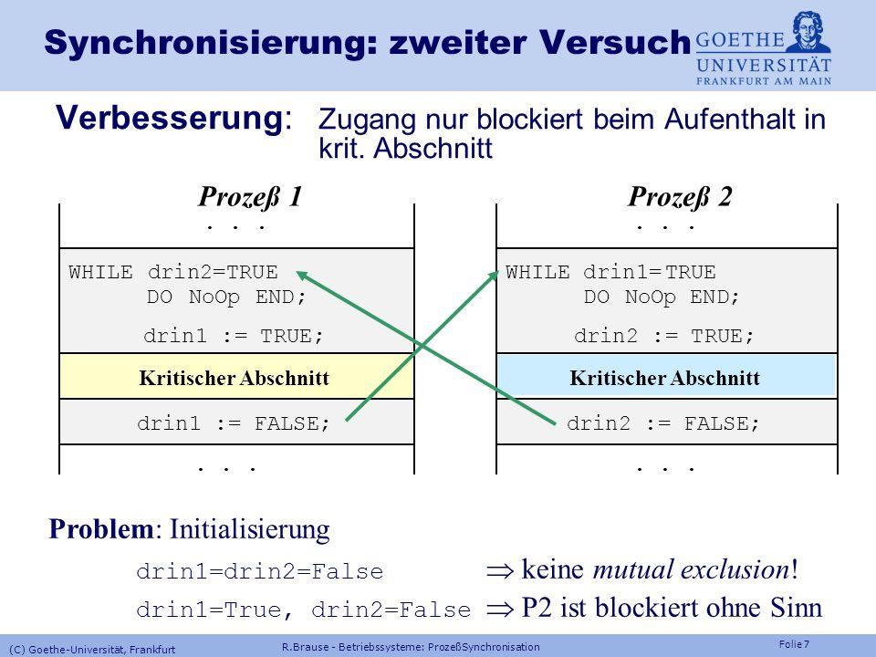 Folie 6 Synchronisierung: erster Versuch Naiver Ansatz: mutual exclusion mit globaler Variablen Wartesperre errichten, bis kritischer Abschnitt frei I