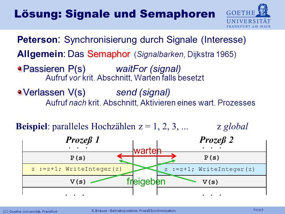 Folie 29 Multiprozessor-Synchronisation Ein/Aushängen bei der ready-queue EinhängenAushängen IF InUse >= N THEN Full:=TRUE; RETURN END ; IF FetchAndAdd(InUse,1)>=N THEN FetchAndAdd(InUse,-1); Full:=TRUE; RETURN END ; MyInSlot:=FetchAndAdd (InSlot,1)MOD N; P (InSem[MyInSlot]); RingBuf[MyInSlot]:=data; V (OutSem[MyInSlot]); FetchAndAdd(Fix,1); IF Fix <= 0 THEN Empty:=TRUE; RETURN END ; IF FetchAndAdd(Fix,-1)<=0 THEN FetchAndAdd(Fix,1); Empty:=TRUE; RETURN END ; MyOutSlot:=FetchAndAdd (OutSlot,1)MOD N; P (OutSem[MyOutSlot]); data:=RingBuf[MyOutSlot]; V (InSem[MyOutSlot]); FetchAndAdd(InUse,-1); (C) Goethe-Universität, Frankfurt R.Brause - Betriebssysteme: ProzeßSynchronisation