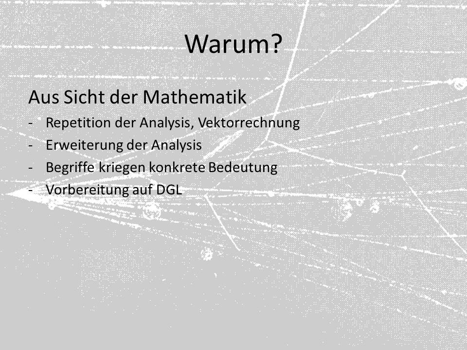 Warum? Aus Sicht der Mathematik -Repetition der Analysis, Vektorrechnung -Erweiterung der Analysis -Begriffe kriegen konkrete Bedeutung -Vorbereitung