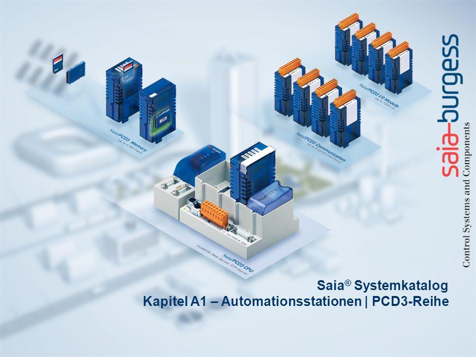 2 Automationstationen: Saia ® PCD3-Reihe Saia ® PCD3.Cxxx Modulträger für E/A-Module PCD3.Cx004 E/A Steckplätze PCD3.C1102 E/A Steckplätze Saia ® PCD3 Ein-/Ausgangsmodule in Kassettenbauform Zahlreiche Module unterschiedlicher Funktionalität für nahezu jede Anforderung Digitale und analoge Eingangs/Ausgangs Module Saia ® PCD3 Schnittstellenmodule Steckbare Module zur Erweiterung der Kommunikationsschnittstellen (bis zu 4 Module bzw.