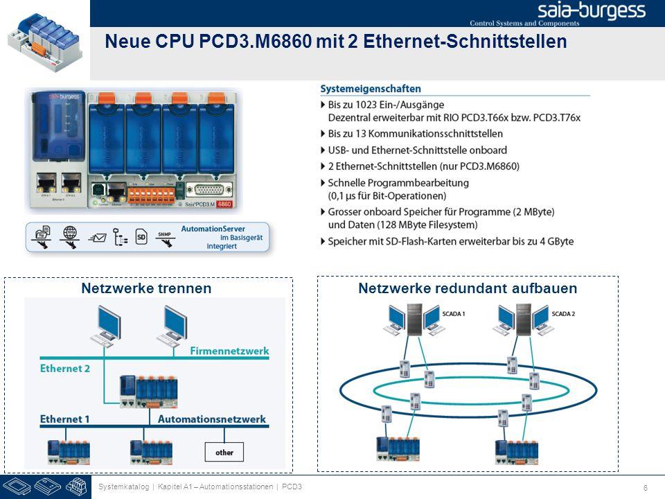 6 Neue CPU PCD3.M6860 mit 2 Ethernet-Schnittstellen Netzwerke redundant aufbauen Systemkatalog | Kapitel A1 – Automationsstationen | PCD3 Netzwerke tr