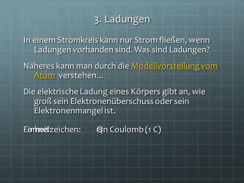 3. Ladungen In einem Stromkreis kann nur Strom fließen, wenn Ladungen vorhanden sind. Was sind Ladungen? Näheres kann man durch die Modellvorstellung