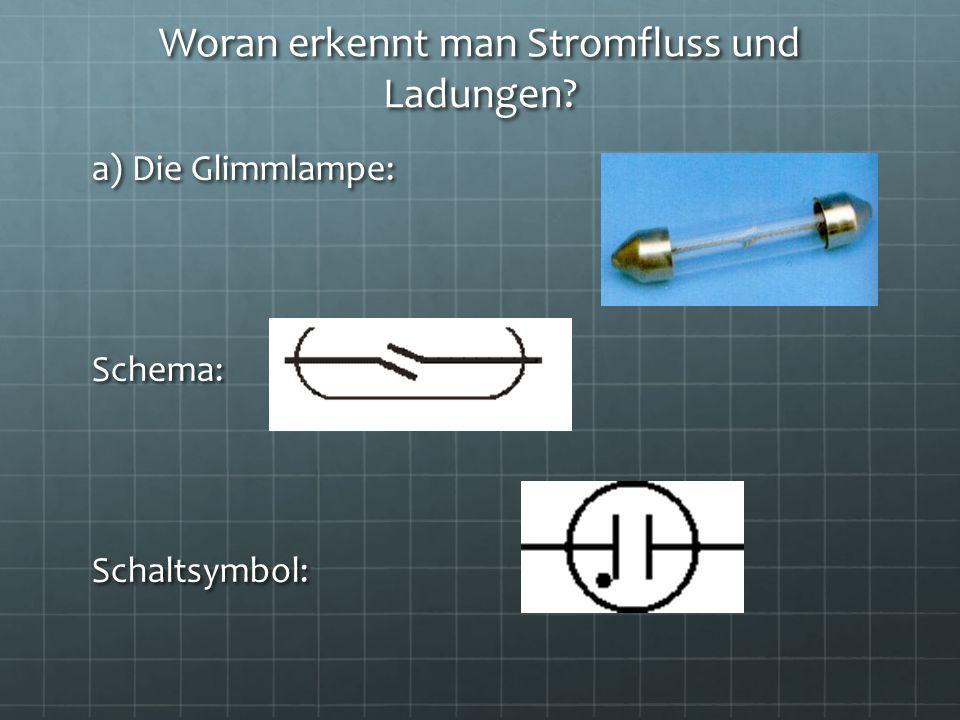 Woran erkennt man Stromfluss und Ladungen? a) Die Glimmlampe: Schema:Schaltsymbol:
