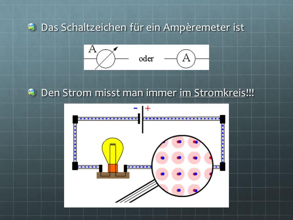 Das Schaltzeichen für ein Ampèremeter ist Den Strom misst man immer im Stromkreis!!!