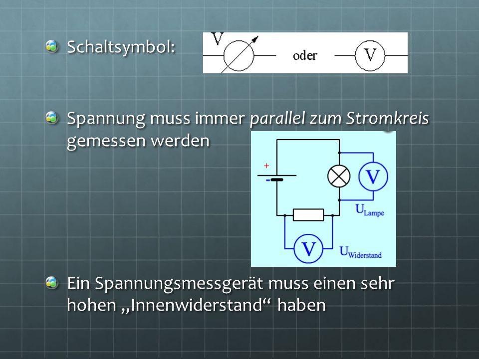 Schaltsymbol: Spannung muss immer parallel zum Stromkreis gemessen werden Ein Spannungsmessgerät muss einen sehr hohen Innenwiderstand haben
