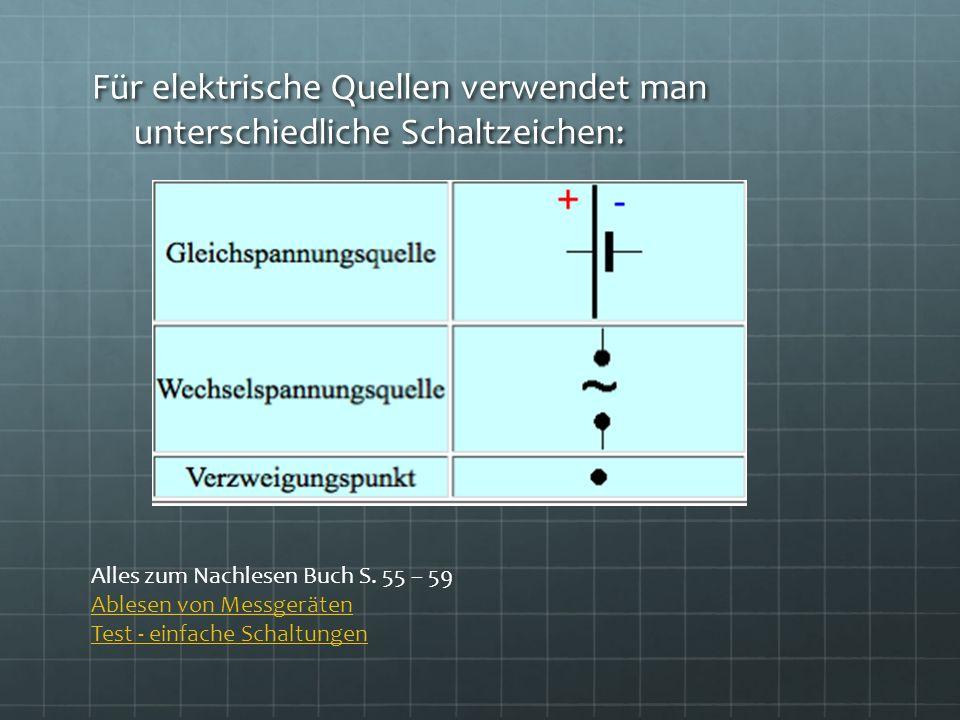 Für elektrische Quellen verwendet man unterschiedliche Schaltzeichen: Alles zum Nachlesen Buch S. 55 – 59 Ablesen von Messgeräten Test - einfache Scha