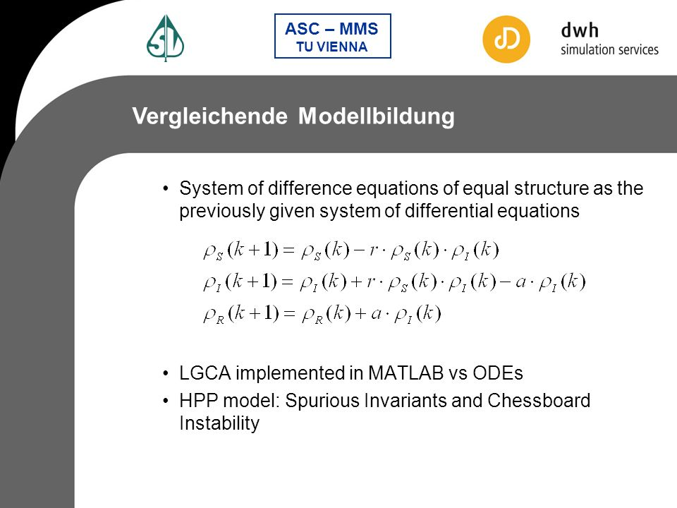 ASC – MMS TU VIENNA System of difference equations of equal structure as the previously given system of differential equations LGCA implemented in MAT