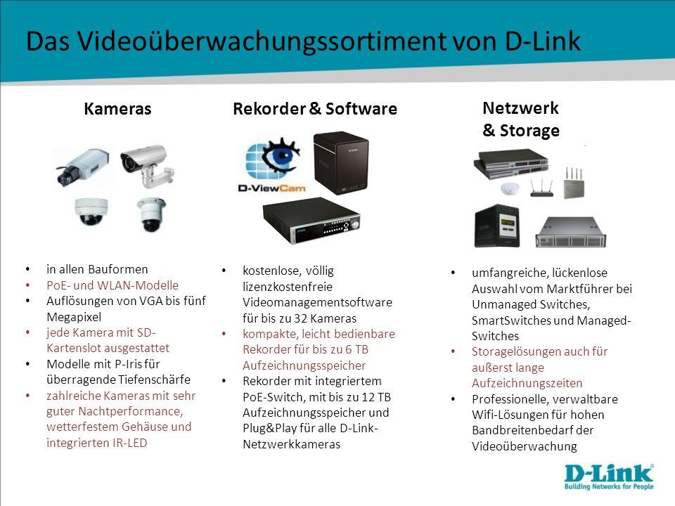 Das Videoüberwachungssortiment von D-Link Kameras Netzwerk & Storage Rekorder & Software in allen Bauformen PoE- und WLAN-Modelle Auflösungen von VGA