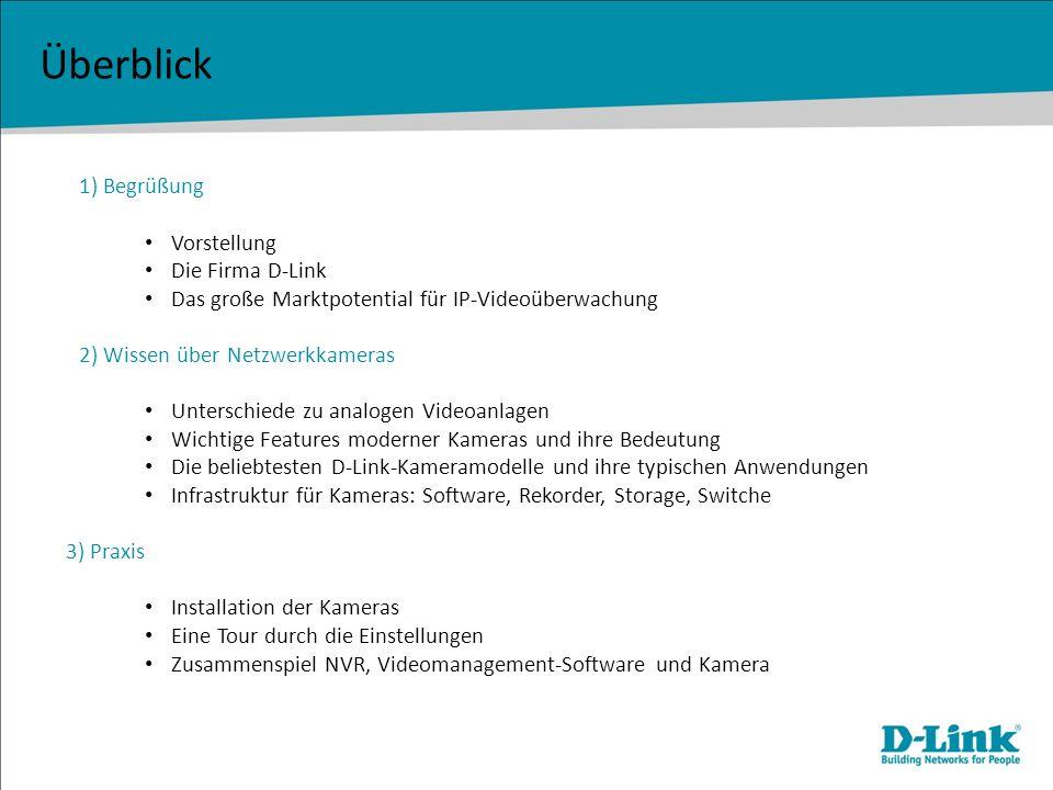 Überblick 1) Begrüßung Vorstellung Die Firma D-Link Das große Marktpotential für IP-Videoüberwachung 2) Wissen über Netzwerkkameras Unterschiede zu an