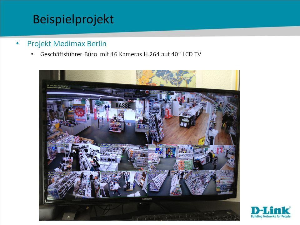 Projekt Medimax Berlin Geschäftsführer-Büro mit 16 Kameras H.264 auf 40 LCD TV Beispielprojekt