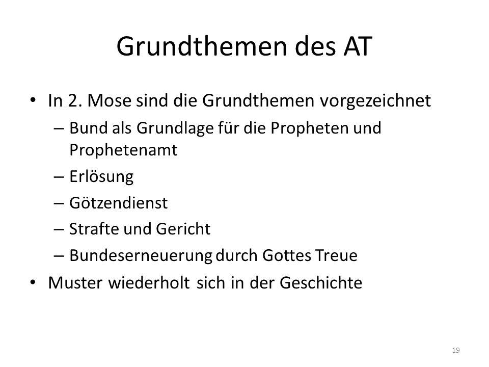 Grundthemen des AT In 2. Mose sind die Grundthemen vorgezeichnet – Bund als Grundlage für die Propheten und Prophetenamt – Erlösung – Götzendienst – S