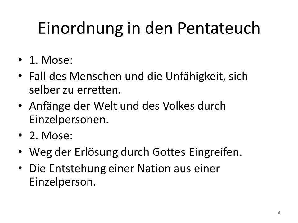 Einordnung in den Pentateuch 1. Mose: Fall des Menschen und die Unfähigkeit, sich selber zu erretten. Anfänge der Welt und des Volkes durch Einzelpers