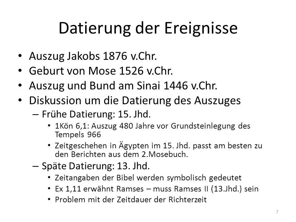 Datierung der Ereignisse Auszug Jakobs 1876 v.Chr. Geburt von Mose 1526 v.Chr. Auszug und Bund am Sinai 1446 v.Chr. Diskussion um die Datierung des Au