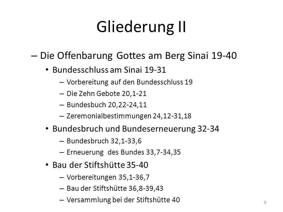 Gliederung II – Die Offenbarung Gottes am Berg Sinai 19-40 Bundesschluss am Sinai 19-31 – Vorbereitung auf den Bundesschluss 19 – Die Zehn Gebote 20,1