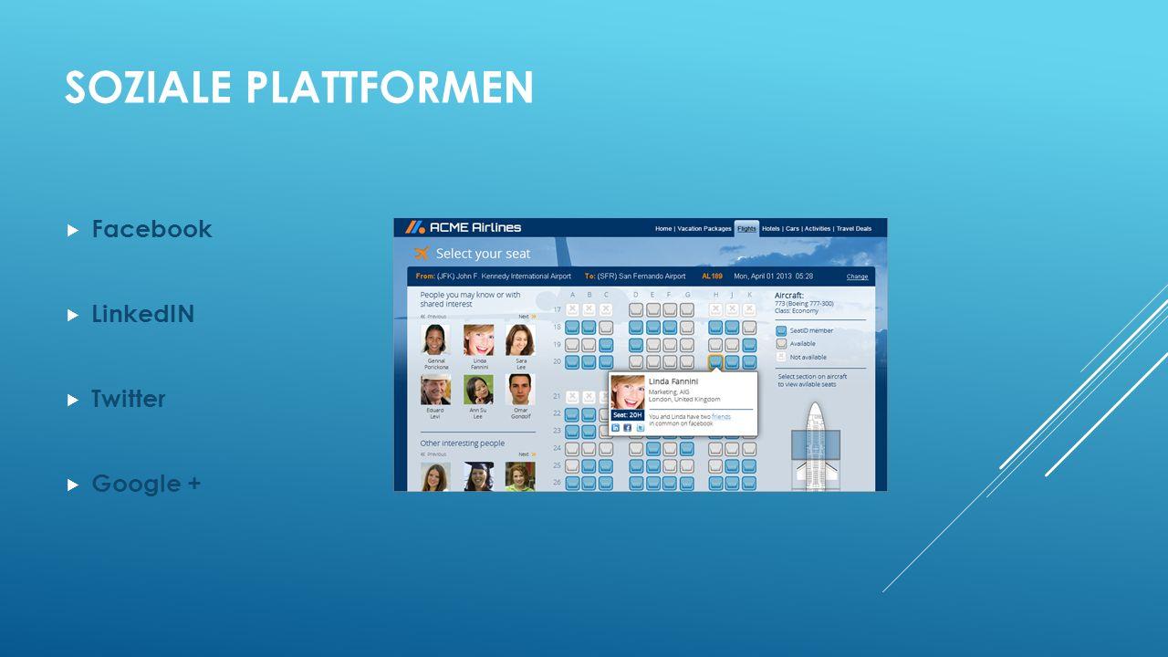 SOZIALE PLATTFORMEN Facebook LinkedIN Twitter Google +