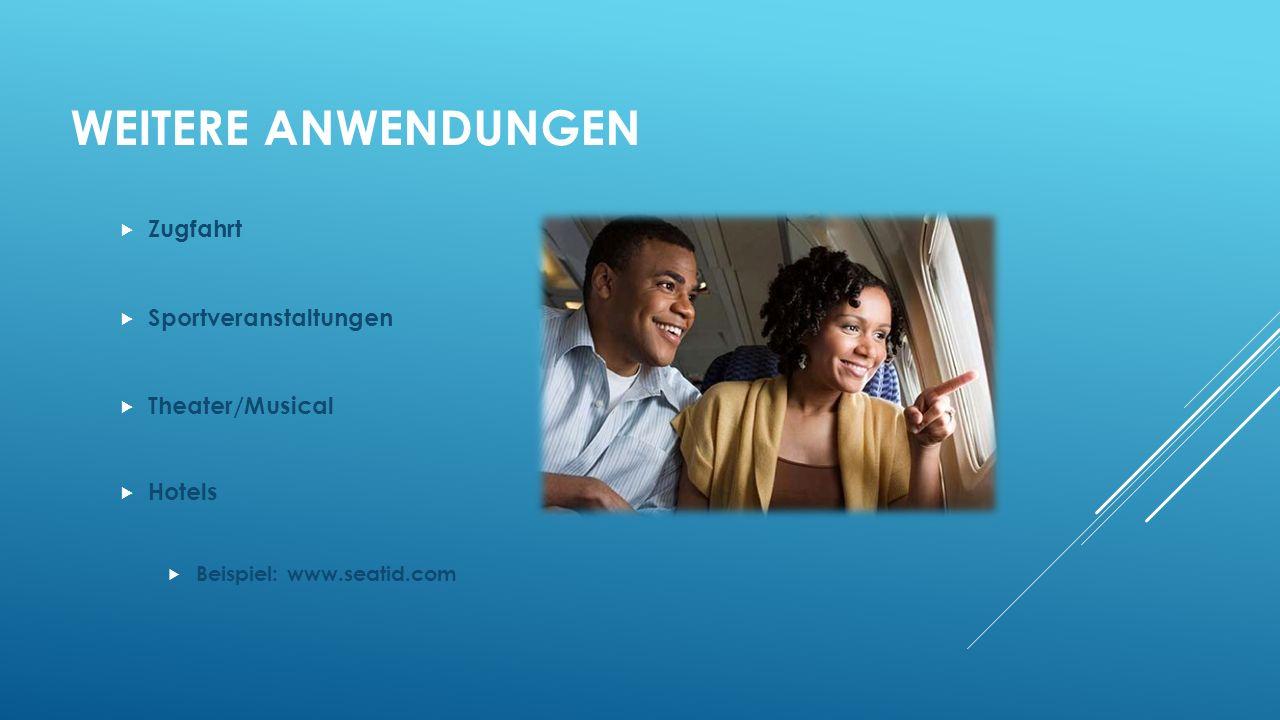 WEITERE ANWENDUNGEN Zugfahrt Sportveranstaltungen Theater/Musical Hotels Beispiel: www.seatid.com