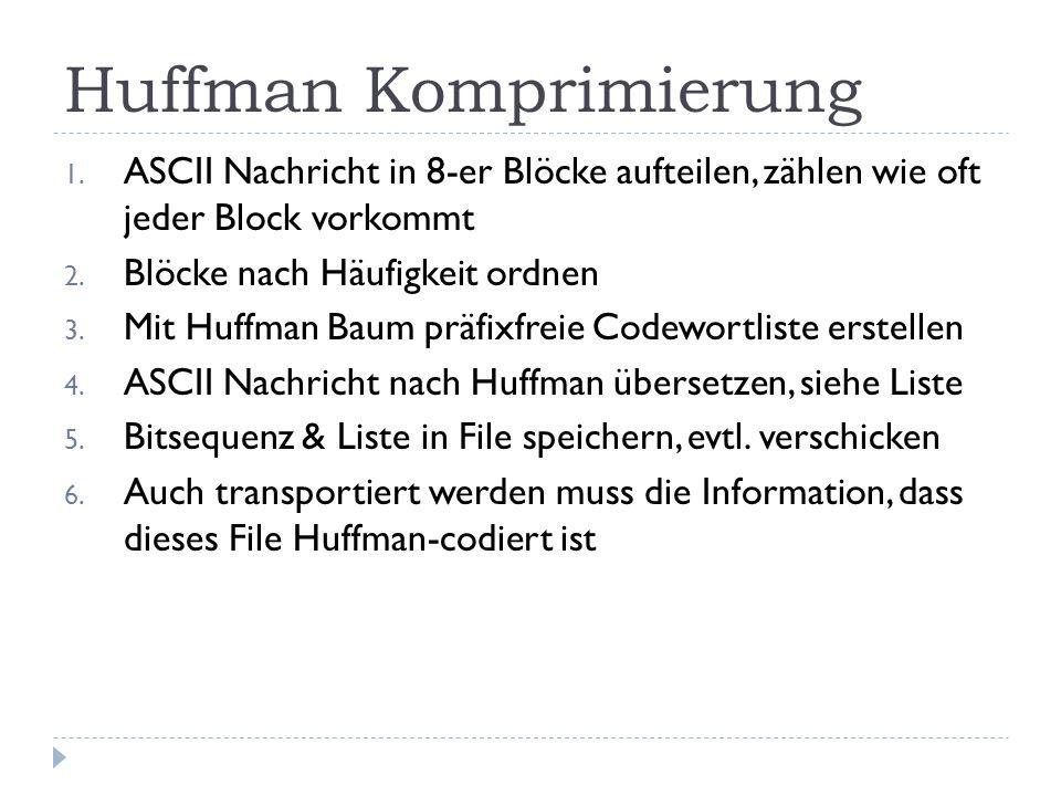 Huffman Komprimierung 1. ASCII Nachricht in 8-er Blöcke aufteilen, zählen wie oft jeder Block vorkommt 2. Blöcke nach Häufigkeit ordnen 3. Mit Huffman