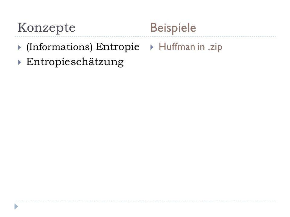 Konzepte Beispiele (Informations) Entropie Entropieschätzung Huffman in.zip