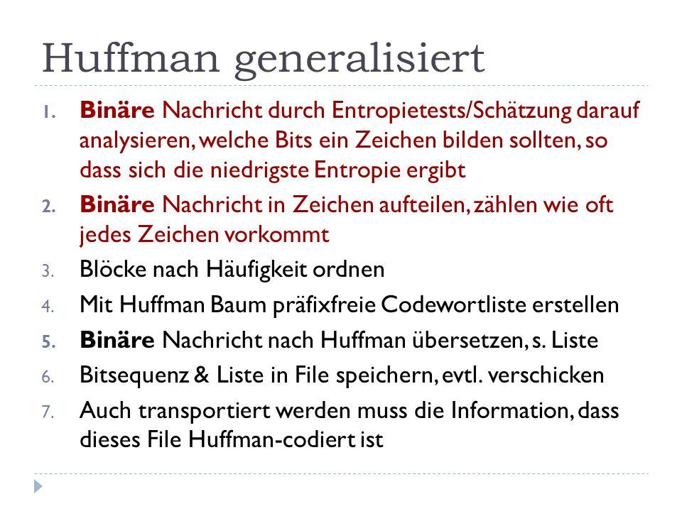 Huffman generalisiert 1. Binäre Nachricht durch Entropietests/Schätzung darauf analysieren, welche Bits ein Zeichen bilden sollten, so dass sich die n