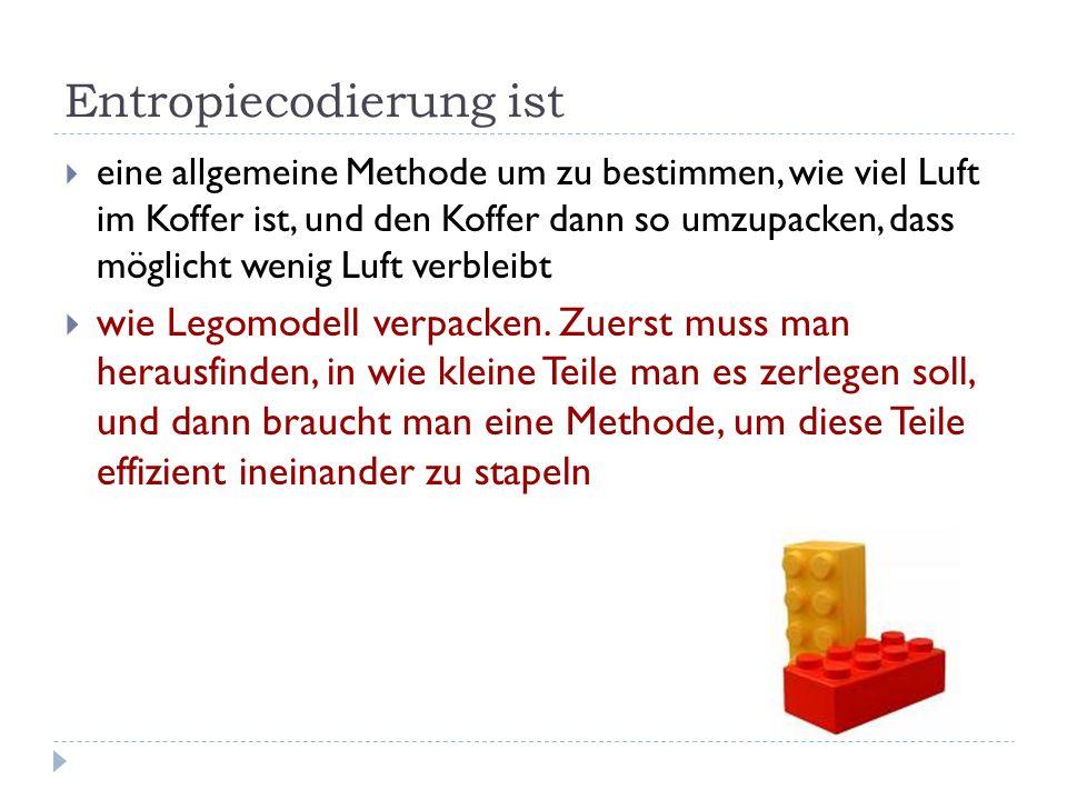 Entropiecodierung ist eine allgemeine Methode um zu bestimmen, wie viel Luft im Koffer ist, und den Koffer dann so umzupacken, dass möglicht wenig Luft verbleibt wie Legomodell verpacken.