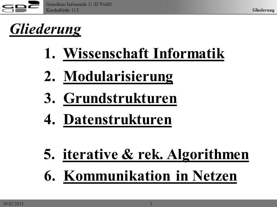 Grundkurs Informatik 11 (D.Wolff) Kurshalbjahr 11/I 19.02.2013 Gliederung 1. Wissenschaft Informatik 2. Modularisierung 3. Grundstrukturen 6. Kommunik