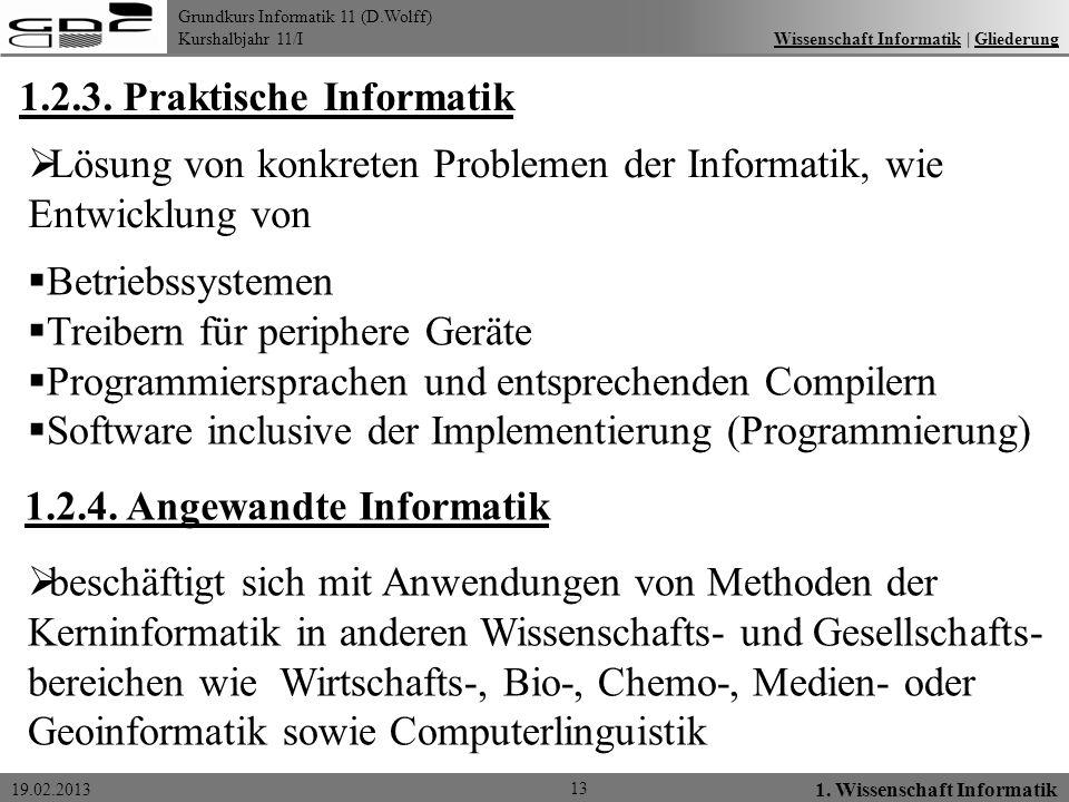 Grundkurs Informatik 11 (D.Wolff) Kurshalbjahr 11/I 19.02.2013 13 1. Wissenschaft Informatik Wissenschaft Informatik   GliederungWissenschaft Informat