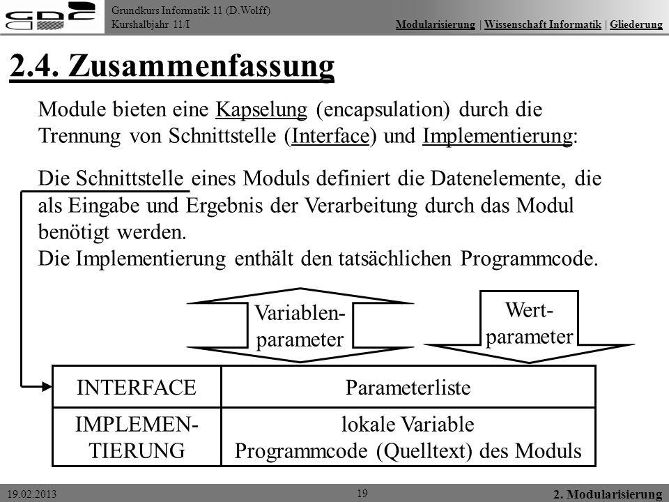 Grundkurs Informatik 11 (D.Wolff) Kurshalbjahr 11/I 19.02.2013 2.4. Zusammenfassung 19 2. Modularisierung Modularisierung   Wissenschaft Informatik  