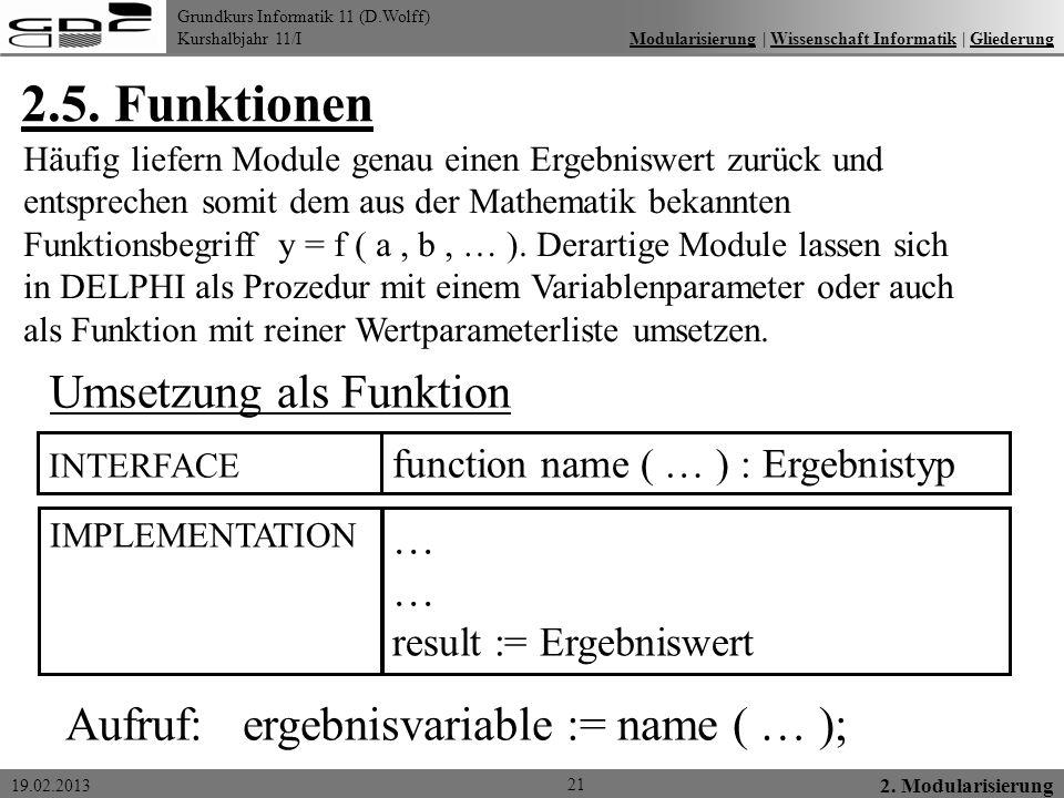 Grundkurs Informatik 11 (D.Wolff) Kurshalbjahr 11/I 19.02.2013 2.5. Funktionen 21 2. Modularisierung Modularisierung   Wissenschaft Informatik   Glied