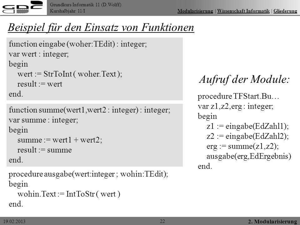 Grundkurs Informatik 11 (D.Wolff) Kurshalbjahr 11/I 19.02.2013 22 2. Modularisierung Modularisierung   Wissenschaft Informatik   GliederungModularisie
