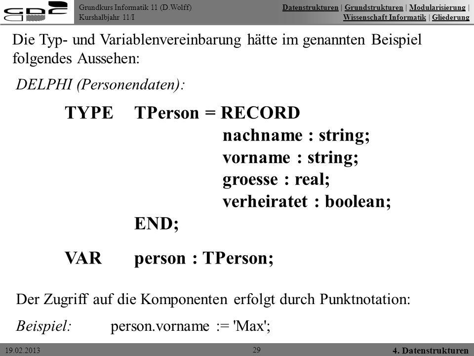 Grundkurs Informatik 11 (D.Wolff) Kurshalbjahr 11/I 19.02.2013 29 4. Datenstrukturen DatenstrukturenDatenstrukturen   Grundstrukturen   Modularisierun