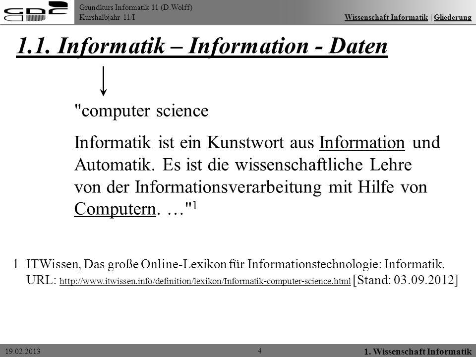 Grundkurs Informatik 11 (D.Wolff) Kurshalbjahr 11/I 19.02.2013 1.1. Informatik – Information - Daten Wissenschaft Informatik   GliederungWissenschaft
