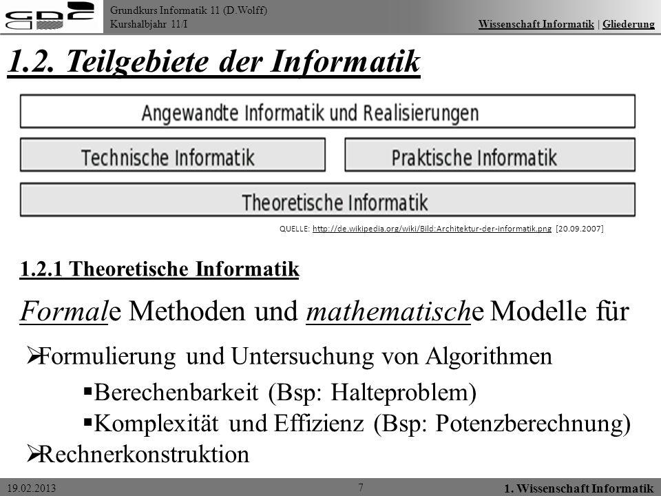 Grundkurs Informatik 11 (D.Wolff) Kurshalbjahr 11/I 19.02.2013 1.2. Teilgebiete der Informatik 7 1. Wissenschaft Informatik Wissenschaft Informatik  