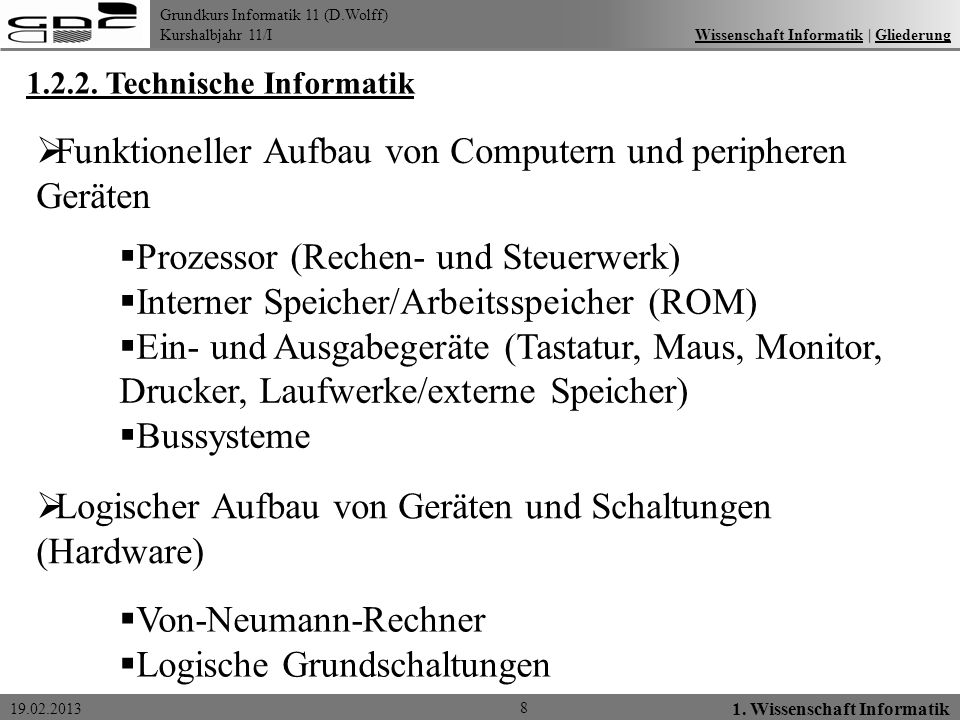 Grundkurs Informatik 11 (D.Wolff) Kurshalbjahr 11/I 19.02.2013 8 1. Wissenschaft Informatik Wissenschaft Informatik   GliederungWissenschaft Informati