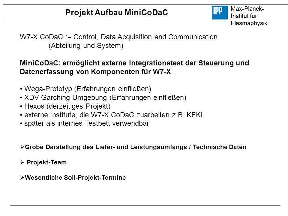Max-Planck- Institut für Plasmaphysik W7-X CoDaC := Control, Data Acquisition and Communication (Abteilung und System) MiniCoDaC: ermöglicht externe I