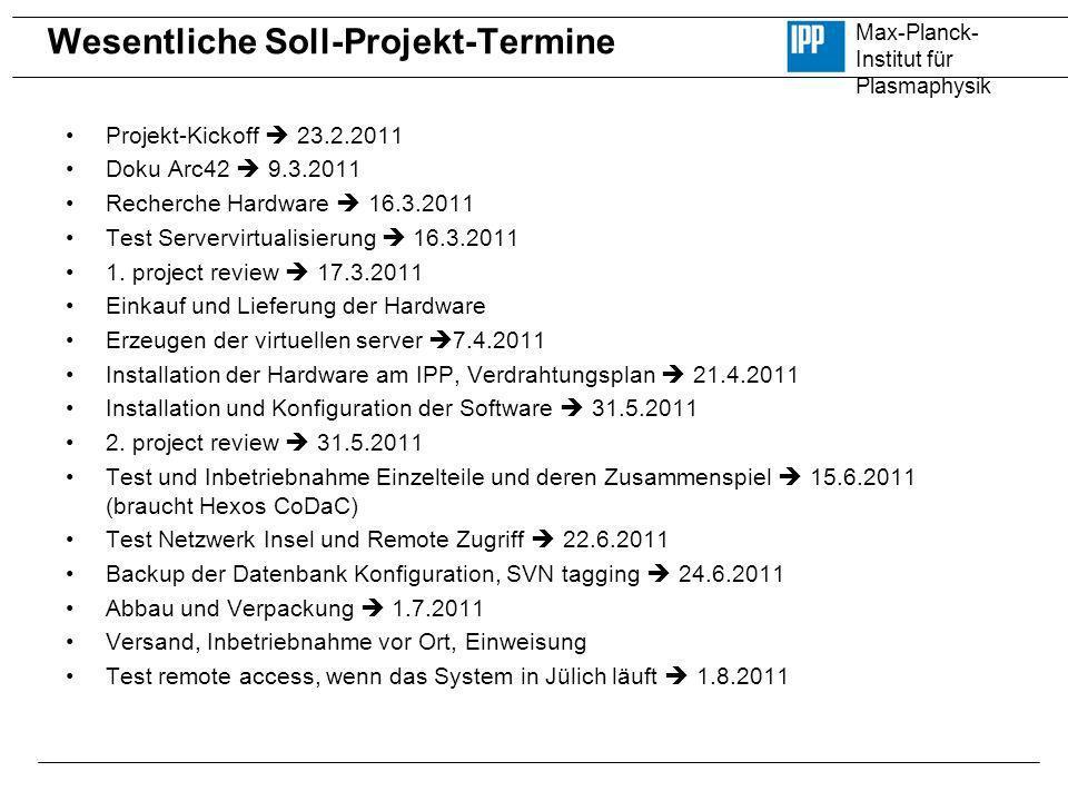 Max-Planck- Institut für Plasmaphysik Wesentliche Soll-Projekt-Termine Projekt-Kickoff 23.2.2011 Doku Arc42 9.3.2011 Recherche Hardware 16.3.2011 Test